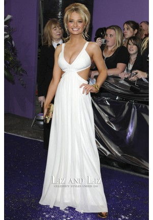 Emma Rigby White V-neck Cut-out Prom Dress British Soap Awards 2008