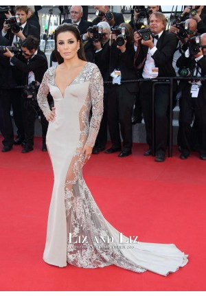 Eva Longoria Grey Lace Satin Mermaid Red Carpet Dress Cannes 2015