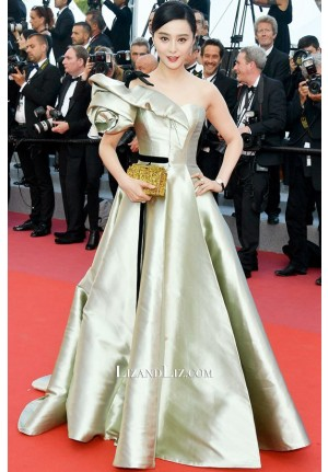 Fan Bingbing Sage Green One-shoulder Celebrity Prom Dress Cannes 2018