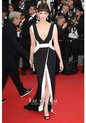 Frederique Bel Black and White Red Carpet Prom Dress Cannes 2015
