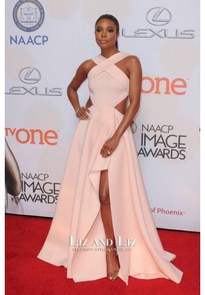 Gabrielle Union Pink Celebrity Dress NAACP Image Awards 2015 Red Carpet