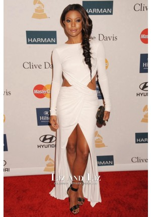 Gabrielle Union White Long-sleeve Cut-out Prom Dress Grammy Party