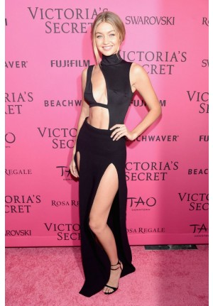 Gigi Hadid Sexy Black Dress Victoria's Secret Fashion After Party 2015