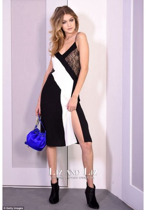 Gigi Hadid Black and White Cocktail Party Dress New York Fashion Week