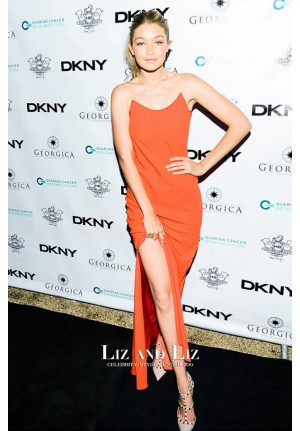 Gigi Hadid Orange Backless Dress Ovarian Cancer Research Dinner
