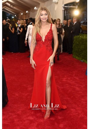 Gigi Hadid Red V-neck Evening Prom Dress Met Gala 2015 Red Carpet