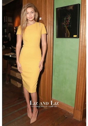 Gigi Hadid Inspired Short Yellow Knee Lenghth Cocktail Party Celebrity Dresses