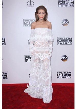 Gigi Hadid White Off-the-shoulder Lace Prom Dress American Music Awards 2016