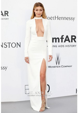 Gigi Hadid White Long-sleeve Dress amfAR Gala Cannes 2015 Red Carpet