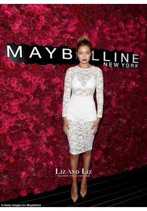 Gigi Hadid White Lace Cocktail Party Celebrity Dress Maybelline Bash