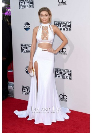 Gigi Hadid White Two-piece Dress American Music Awards 2015 Red Carpet