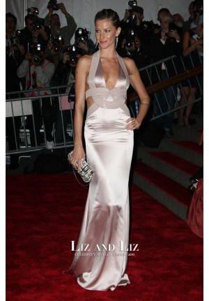 Gisele Bundchen Sexy Halter V-neck Mermaid Satin Dress Met Gala 2008