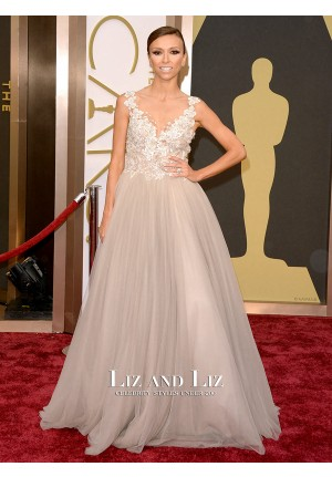 Giuliana Rancic Blush Lace Tulle Prom Red Carpet Dress Oscars 2014