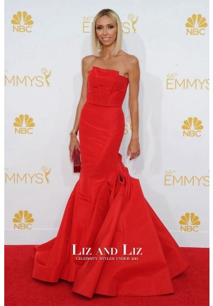 Giuliana Rancic Red Strapless Mermaid Dress Emmys 2014 Red Carpet