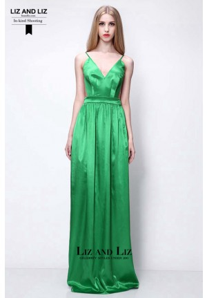 Green Spaghetti Strap Satin Backless Evening Prom Celebrity Dress