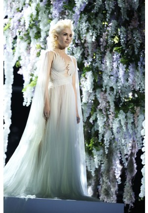 Gwen Stefani Ivory Tulle Celebrity Dress The Voice 'Used to Love You'
