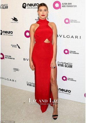Hailey Baldwin Red Formal Evening Prom Celebrity Dress Oscars 2016