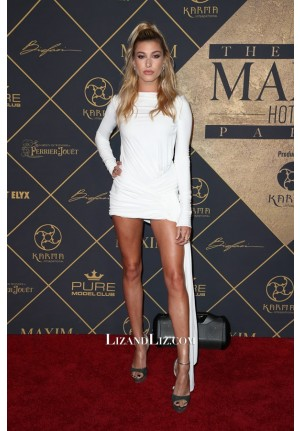 Hailey Baldwin Little White Backless Cocktail Celebrity Dress MAXIM Party