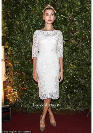 Hailey Baldwin Short White Lace Cocktail Party Homecoming Celebrity Dress