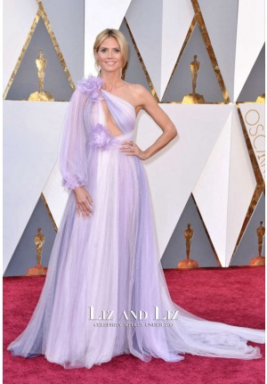 Heidi Klum Lavender One-shoulder Tulle Dress Oscars 2016 Red Carpet