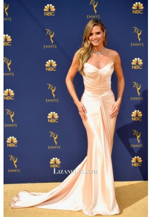 Heidi Klum Pink Strapless Satin Celebrity Dress Emmy Awards 2018