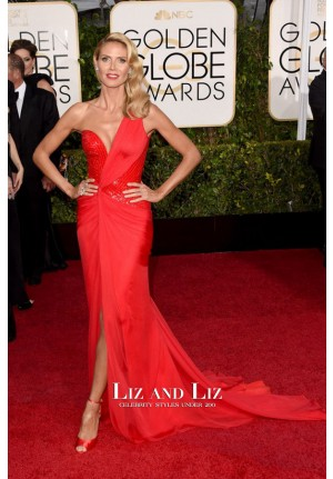 Heidi Klum Red One-shoulder Prom Dress Golden Globes 2015 Red Carpet