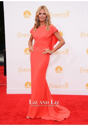 Heidi Klum Red Evening Prom Gown Emmys 2014 Red Carpet Dress