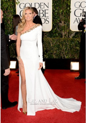 Heidi Klum White One-shoulder Golden Globe Awards 2013 Red Carpet Dress