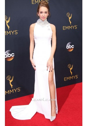 Holly Taylor White Formal Celebrity Dress Emmy Awards 2016 Red Carpet