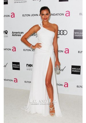 Irina Shayk White One-shoulder Celebrity Prom Dress Oscars Party 2012