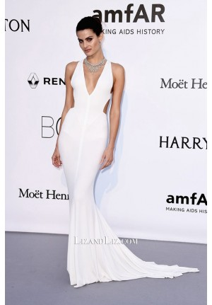 Isabeli Fontana White V-neck Celebrity Prom Dress amfAR Gala Cannes 2016