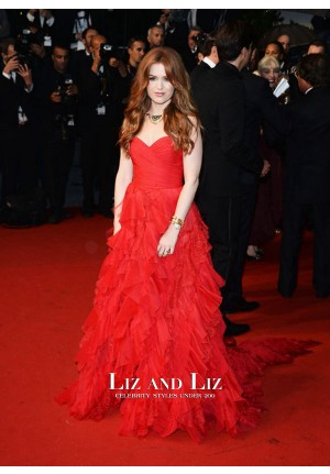Isla Fisher Red Strapless Gown Celebrity Dress Cannes 2013 Red Carpet