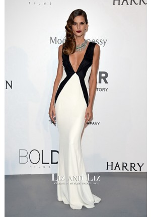 Izabel Goulart Black and White V-neck Dress amfAR Gala Cannes 2015