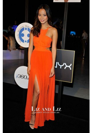 Jamie Chung Orange Cut-out Celebrity Prom Dress DB3 Audrey's Night Out