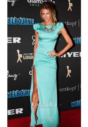Jennifer Hawkins Blue Satin Celebrity Prom Gown Logies 2012 Red Carpet Dress