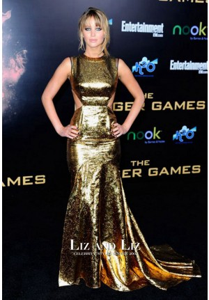 Jennifer Lawrence Gold Cut-out Celebrity Dress 'The Hunger Games' LA Premiere