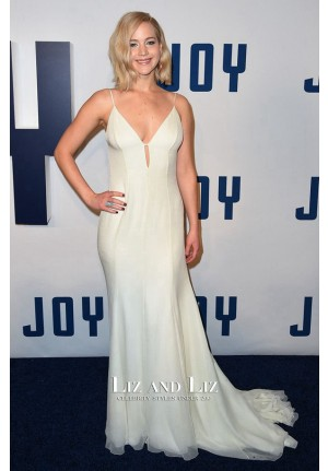 Jennifer Lawrence Pale Yellow Celebrity Prom Dress 'Joy' New York Premiere