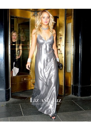 Jennifer Lawrence Silver Slip Dress Celebrity Prom Gown Met Gala After Party 2015
