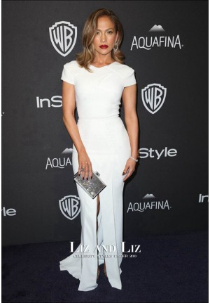 Jennifer Lopez White Celebrity Prom Dress Golden Globes 2016 Party Red Carpet