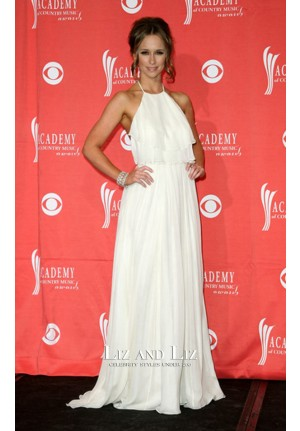 Jennifer Love Hewitt White Halter Chiffon ACM Awards 2009 Red Carpet Dress