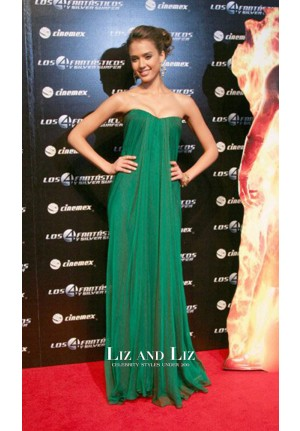 Jessica Alba Green Strapless Draped Chiffon Celebrity Prom Dress Mexico Premiere