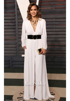 Jessica Alba White Long-sleeve V-neck Celebrity Prom Dress Oscars 2016