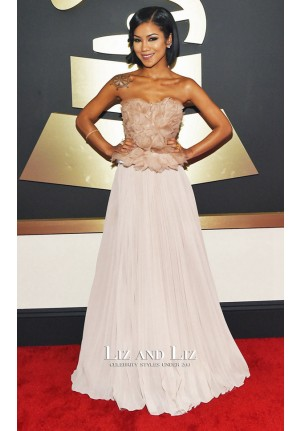 Jhene Aiko Blush Strapless Floral Prom Dress Grammys 2015 Red Carpet