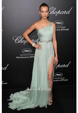 Josephine Skriver Mint Green One-shoulder Dress Chopard Party Cannes 2018