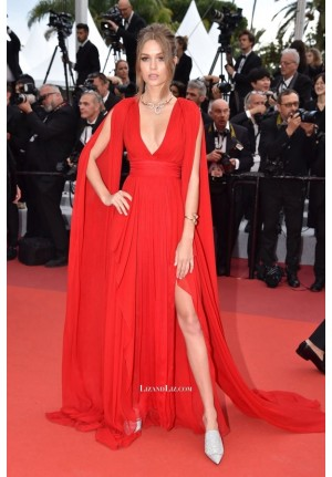 Josephine Skriver Red Celebrity Dress 'La Belle Epoque' Premiere Cannes 2019