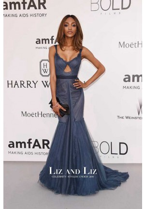 Jourdan Dunn Navy Blue Mermaid Tulle Red Carpet Dress Cannes 2015