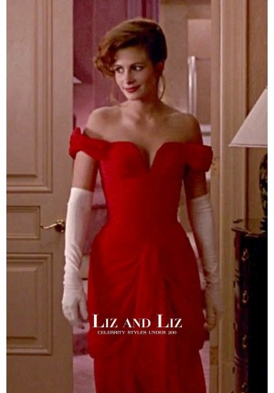 Julia Roberts Red Off-the-shoulder Celebrity Prom Dress Pretty Woman