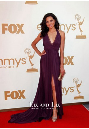 Jurnee Smollett Purple Halter Chiffon Red Carpet Dress Emmys 2011