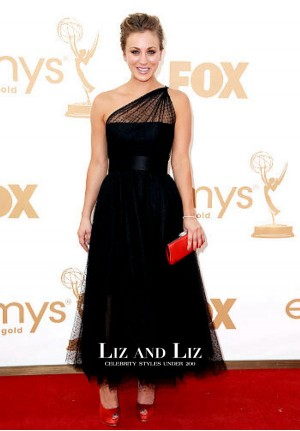 Kaley Cuoco Black One-shoulder Celebrity Dresses Emmys 2011 Red Carpet