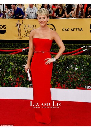 Kaley Cuoco Red Strapless Prom Dress SAG Awards 2015 Red Carpet